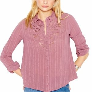 Free People Carter Dobby Button-Up Top